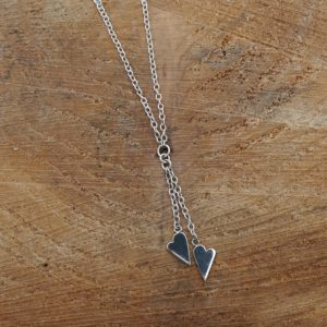 Double Heart Drop Necklace