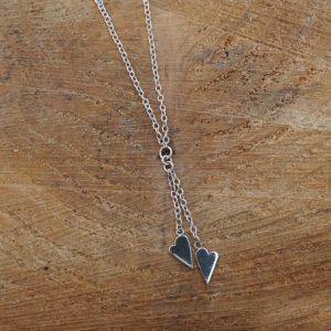 Double Heart Drop Necklace