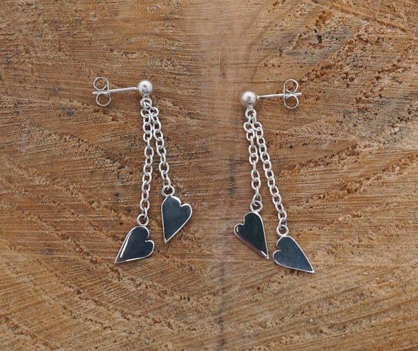 Double Heart Drop Earrings