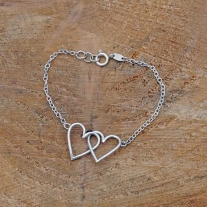 Linked Hearts Bracelet, Two Hearts