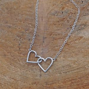 Linked Hearts Necklace Linked Hearts Simple Silver Necklace