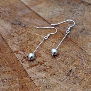 Pebble Drop Earrings, Sterling Silver Dangle Earrings, Minimalist Simple Silver