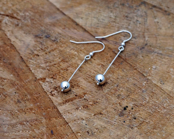 Pebble Drop Earrings, Sterling Silver Dangle Earrings, Minimalist Simple Silver