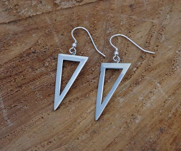 Sterling Silver Points Triangle Drop Earrings