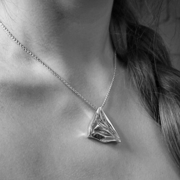 chunky asymmetrical pendant Glacier chunky sculptural necklace