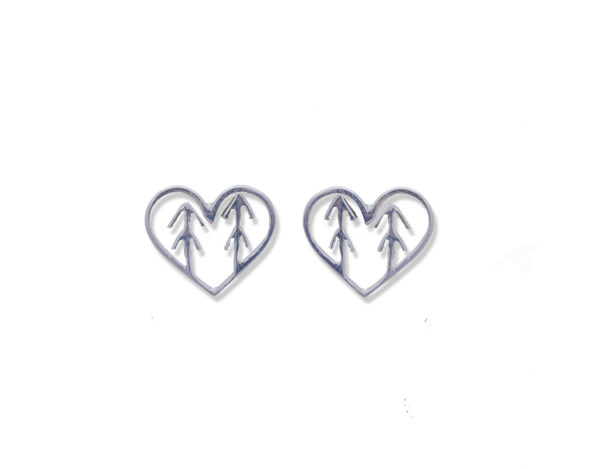 forest tree heart earrings