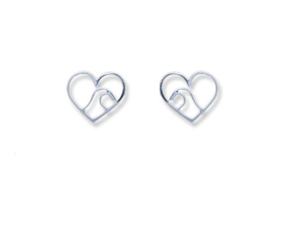 Ocean Wave Heart Earrings