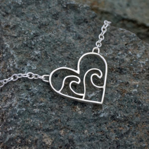 Ocean Wave Heart Necklace Love the ocean Necklace, Wave sea heart necklace