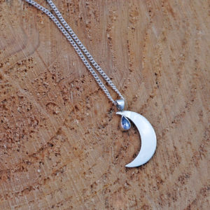 Crescent Tanzanite Moon Pendant