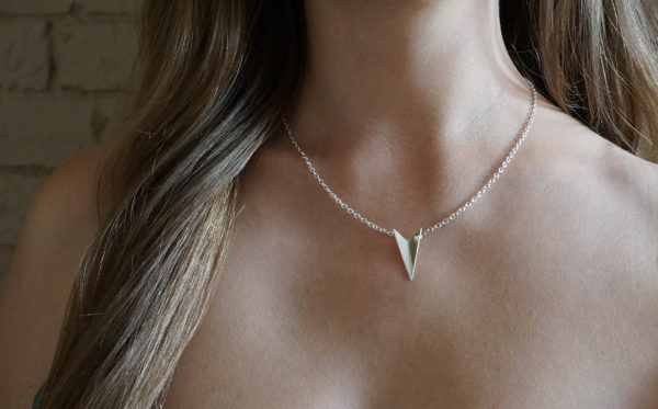 Chevron Silver Arrow necklace, Park road Jewellery, Handmade sterling silver minimalist jewellery