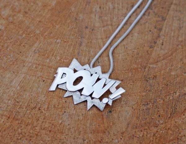 Pow comic necklace