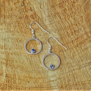 Circular Tanzanite Drop Earrings