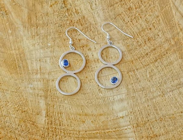 Tanzanite Double Drop Earrings front and back