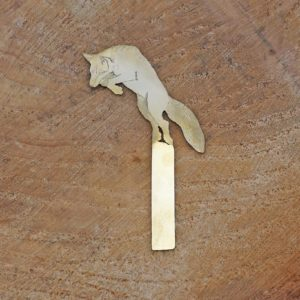 fox engraved brass bookmark