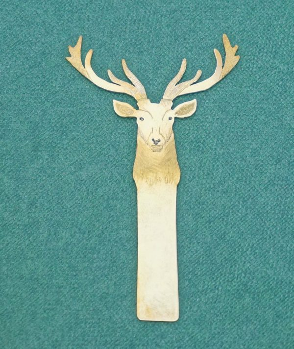 Stag brass engraved bookmark