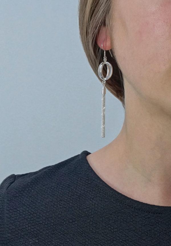 Tassel Drop Sterling Silver Earrings, Minimalist Statement Dangle earrings