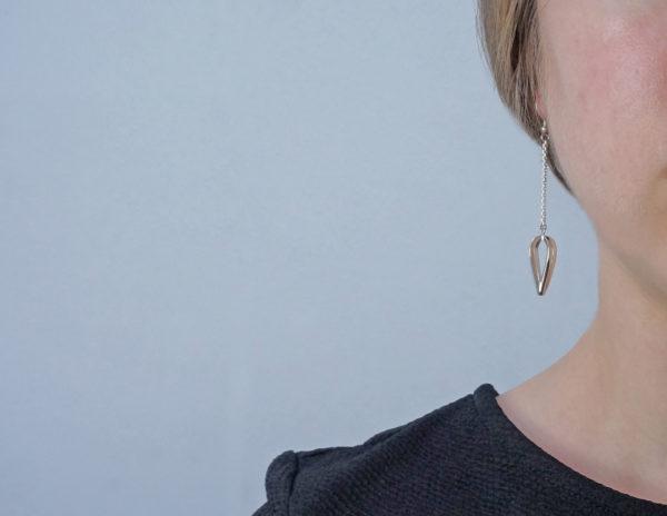 Open Teardrop Earrings, Minimalist statement dangle drop earrings,
