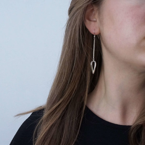 Open Teardrop Earrings, Minimalist statement dangle drop earrings,
