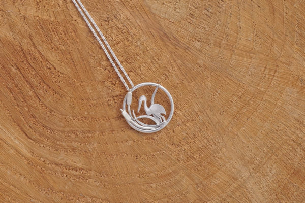 Egret heron necklace, nature necklace, bird necklace, birdwatching, nature lover gift, park road jewellery