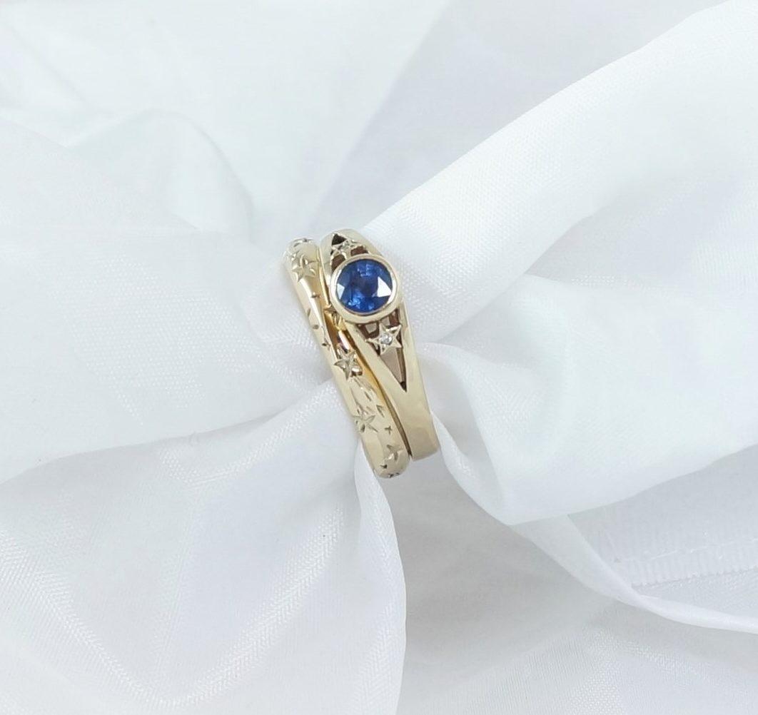 Park Road Jewellery, Bespoke Handmade Engagement Wedding Ring Shaped Sapphire Diamond Gemstone Personalized Ring