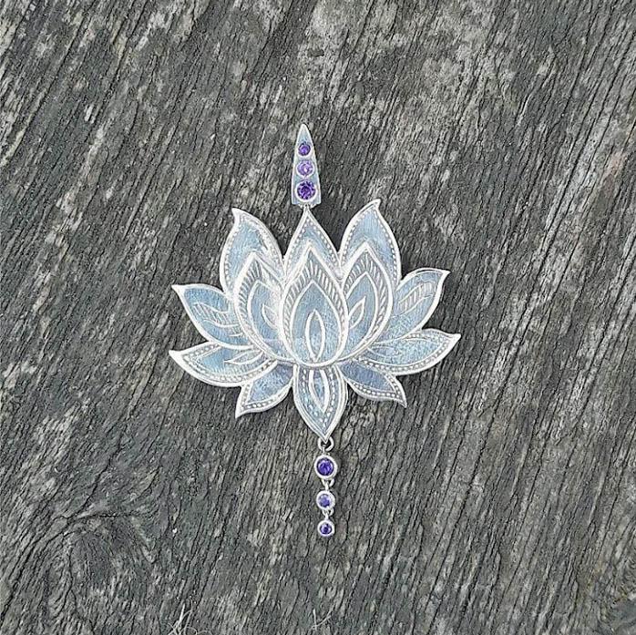 Park Road Jewellery, Bespoke Handmade Sterling Silver and Amethyst Lotus Dress Pendant