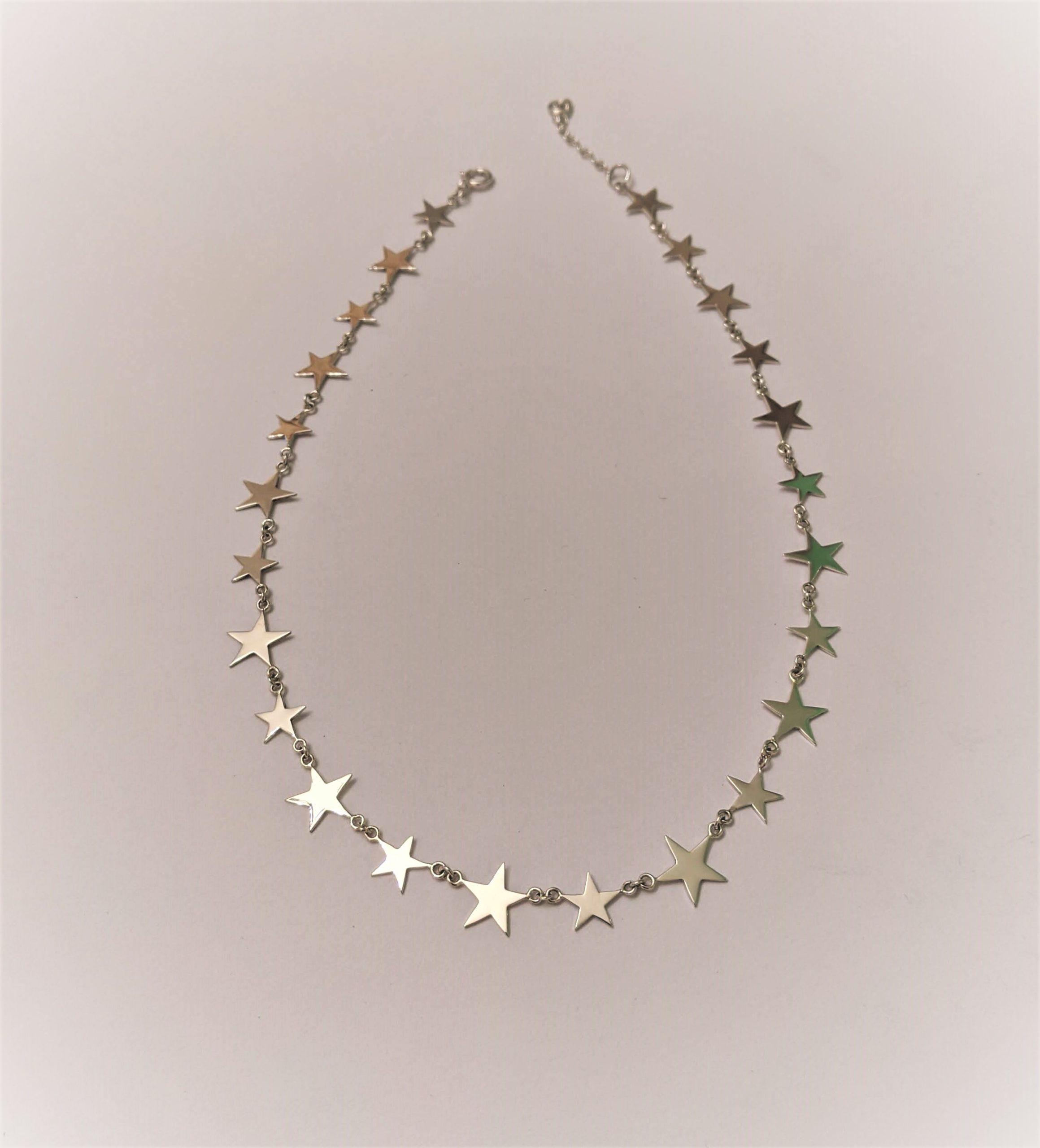 Park Road Jewellery, Bespoke Handmade Sterling Silver Graduated Star Necklace