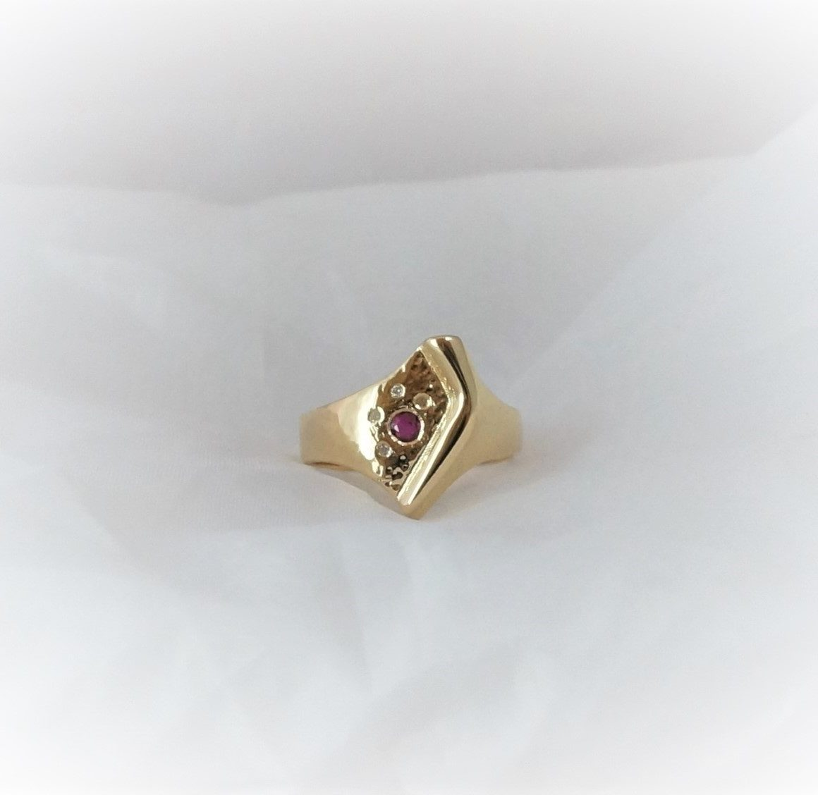 Park Road Jewellery, Bespoke Handmade Ruby Diamond Dress Cocktail Ring Yellow Gold Personalized Ring