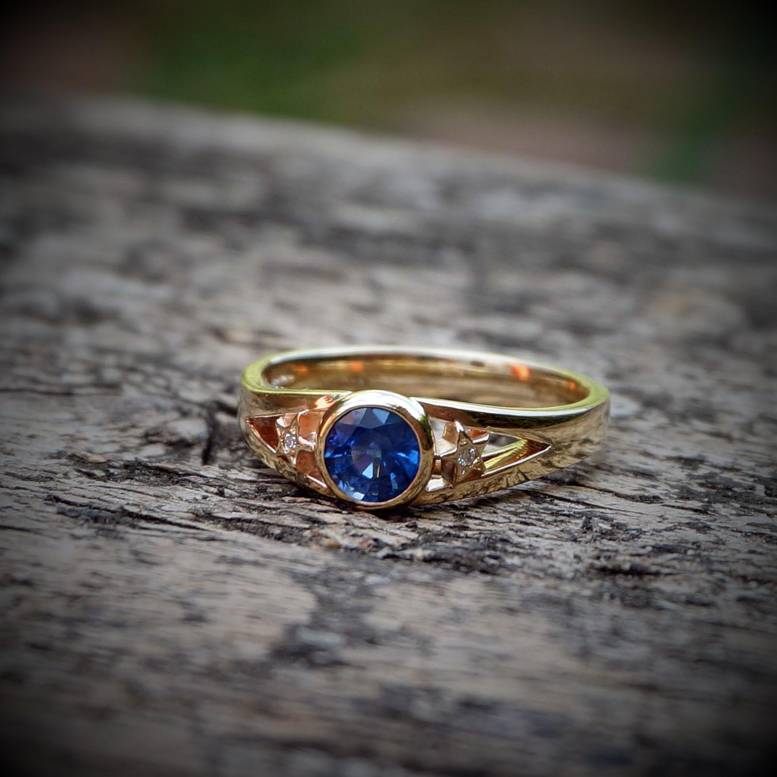 Park Road Jewellery, Bespoke Handmade Engagement Wedding Ring 18ct Yellow Gold Shaped Sapphire Diamond Gemstone Personalized Ring