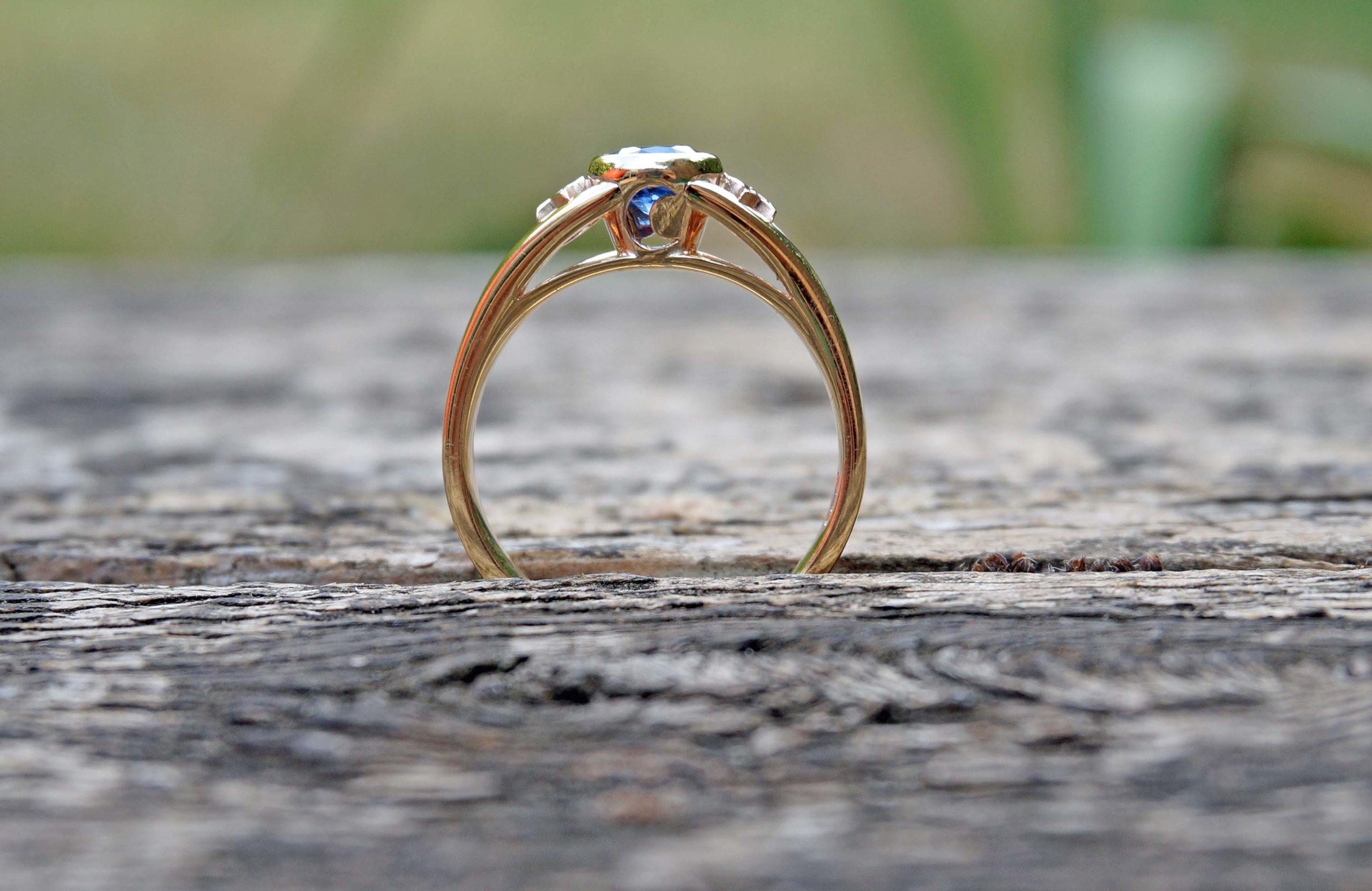 Park Road Jewellery, Bespoke Handmade Sapphire Diamond Engagement Wedding Ring Yellow Gold Personalized Moon and Stars Ring