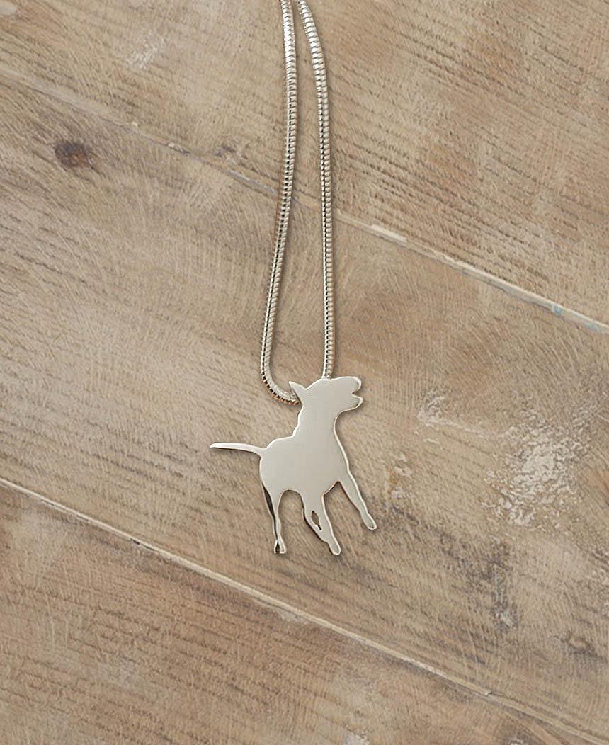 Park Road Jewellery, Bespoke Handmade Sterling Silver Dog English Bull Terrier Pet Necklace Jewellery