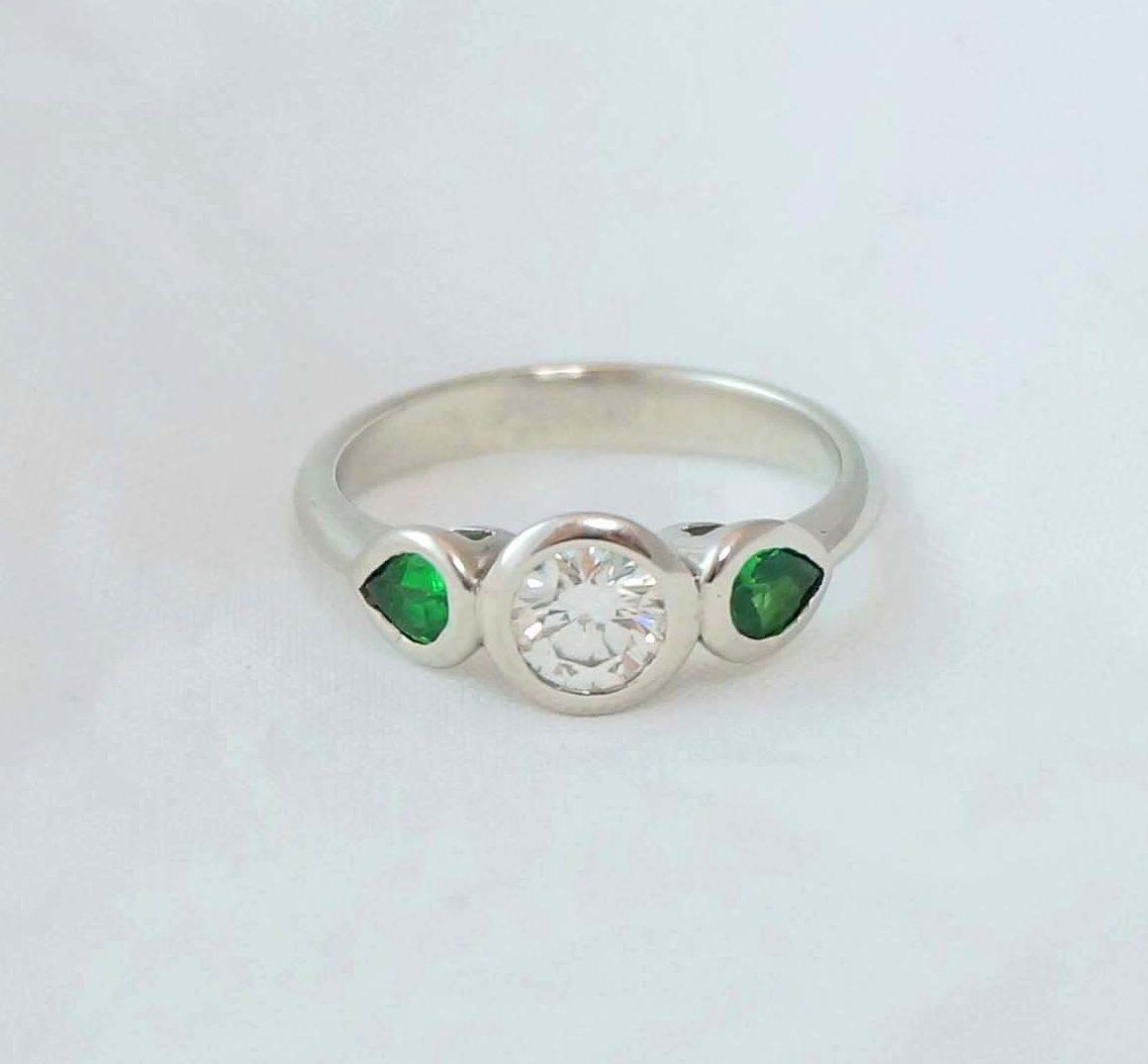 Park Road Jewellery, Bespoke Handmade Engagement Ring Shaped Platinum Diamond Gemstone Personalized Ring
