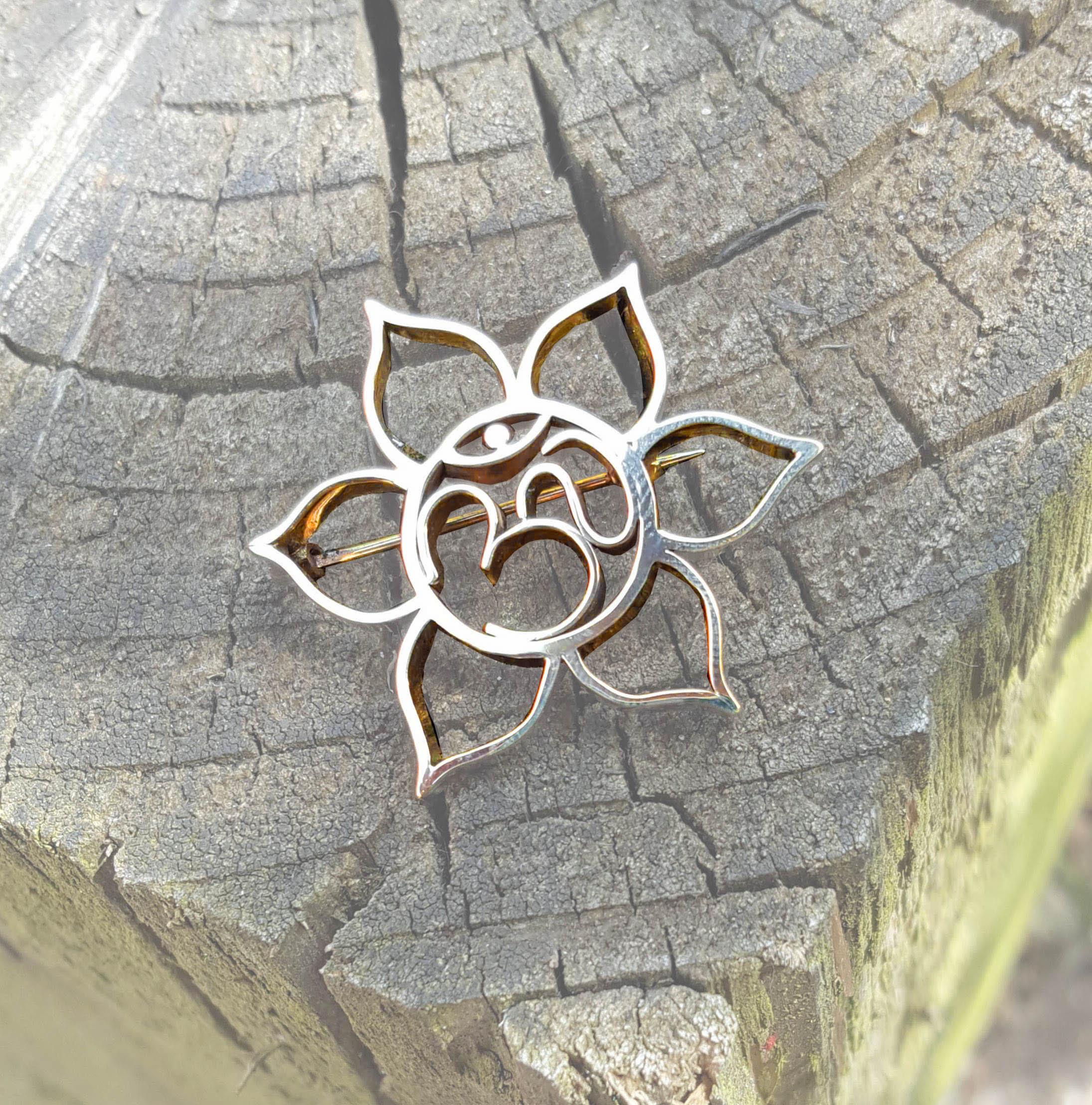Park Road Jewellery, Bespoke Handmade 9ct Gold Lotus Brooch