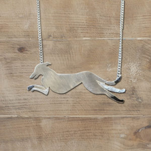 Park Road Jewellery, Bespoke Handmade Sterling Silver Dog Greyhound Pet Necklace Jewellery