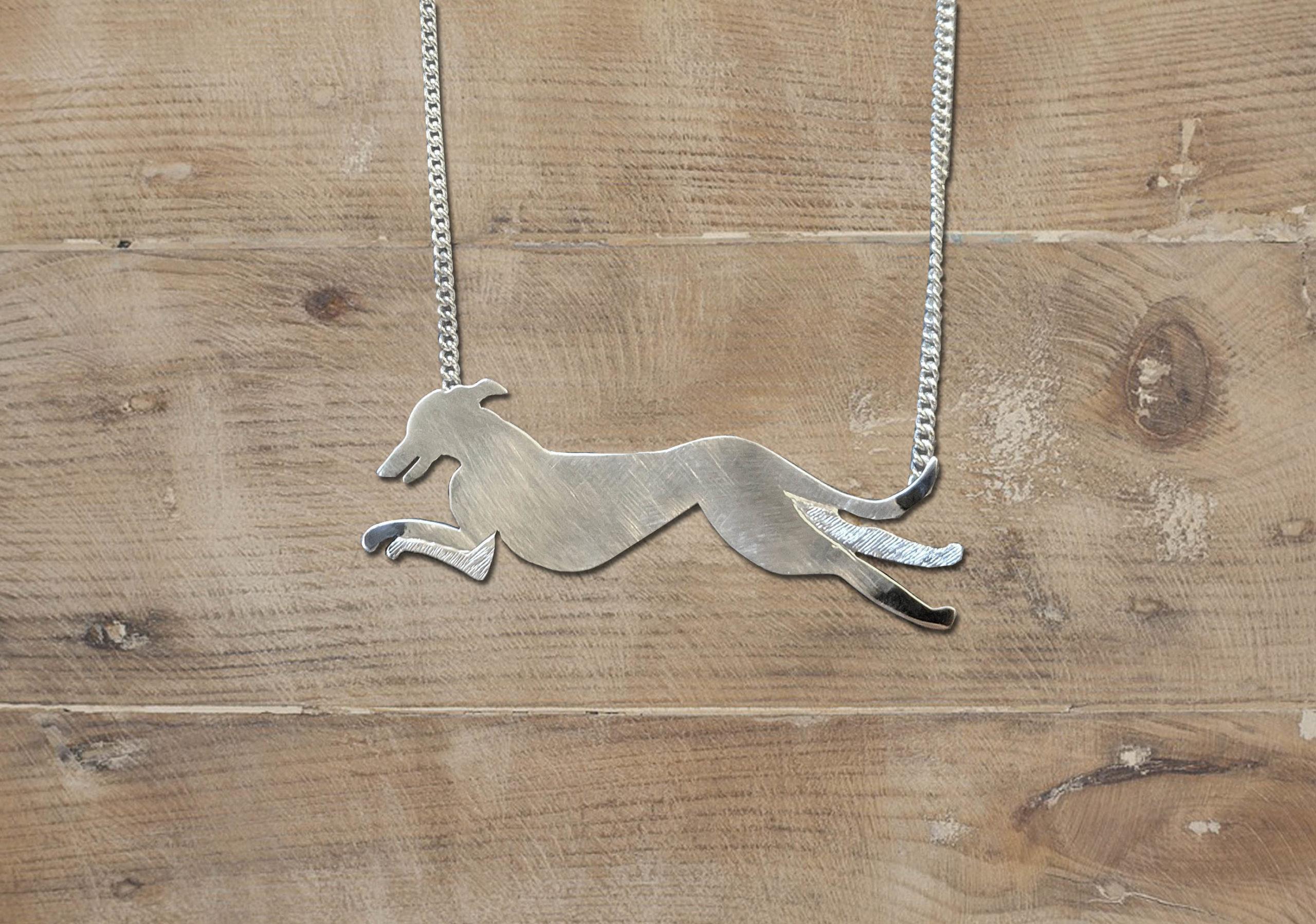 Park Road Jewellery, Bespoke Handmade Sterling Silver Dog Greyhound Pet Necklace Jewellery