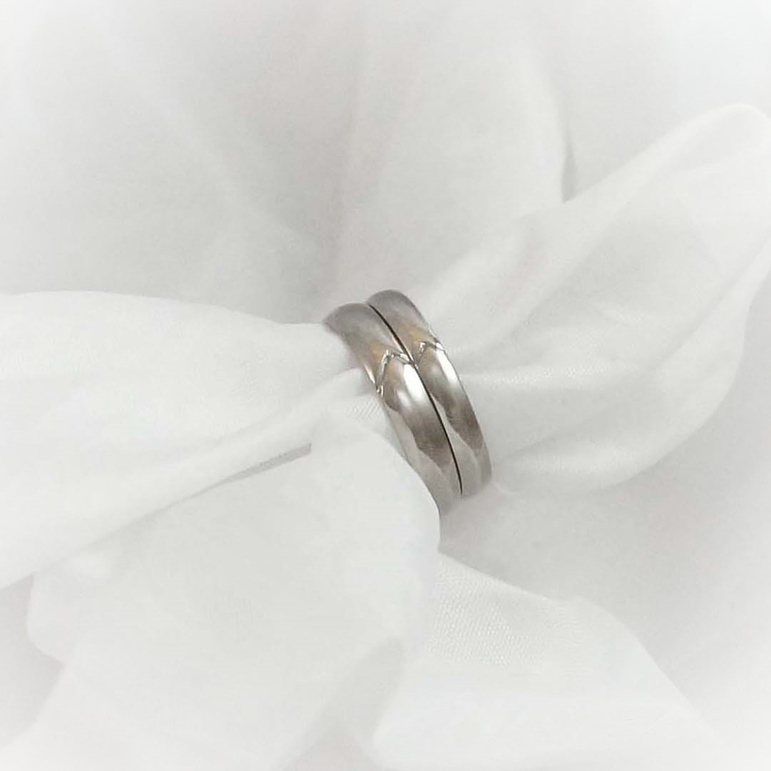 Park Road Jewellery, Bespoke Handmade Wedding Ring Shaped Personalized 18ct White Gold Mountain Personalized Ring