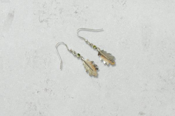 eridot Oak Leaf Pendant. Park Road Jewellery, Handmade Statement Sterling Silver Jewellery.