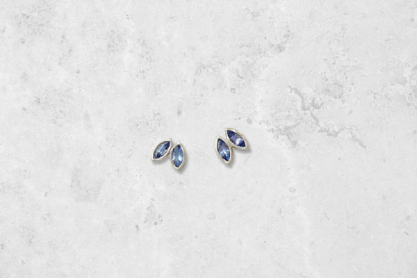 Tanzanite Petal Earrings. Park Road Jewellery, Bespoke Handmade Sterling Silver Jewellery