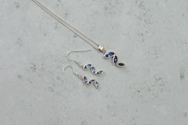 Tanzanite Cascade Pendant. Park Road Jewellery, Bespoke Handmade Sterling Silver Jewellery