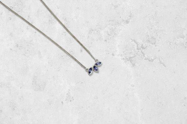 Tanzanite Petal Necklace. Park Road Jewellery, Bespoke Handmade Sterling Silver Jewellery