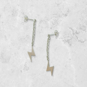 Lightning bolt dangle drop Earrings. Handmade in England. Park Road Jewellery, Bespoke Handmade Sterling Silver Jewellery