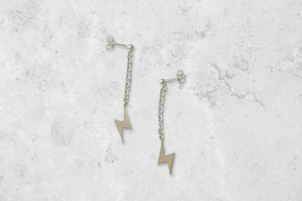 Lightning bolt dangle drop Earrings. Handmade in England. Park Road Jewellery, Bespoke Handmade Sterling Silver Jewellery
