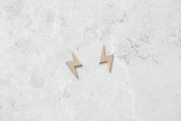 Lightning bolt stud Earrings. Handmade in England. Park Road Jewellery, Bespoke Handmade Sterling Silver Jewellery