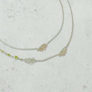 eridot Oak Leaf multi strand necklace. Park Road Jewellery, Handmade Statement Sterling Silver Jewellery.