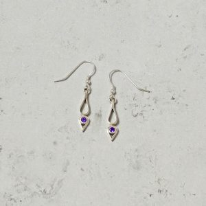 Amethyst Drop Earrings Park Road Jewellery, Bespoke Handmade Sterling Silver Jewellery