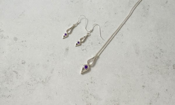 Amethyst Drop Pendant necklacePark Road Jewellery, Bespoke Handmade Sterling Silver Jewellery