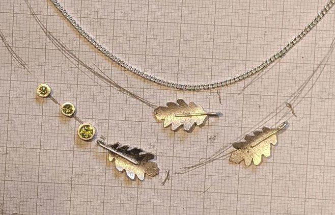 Park Road Jewellery, Handmade Peridot Leaf multi strand necklace